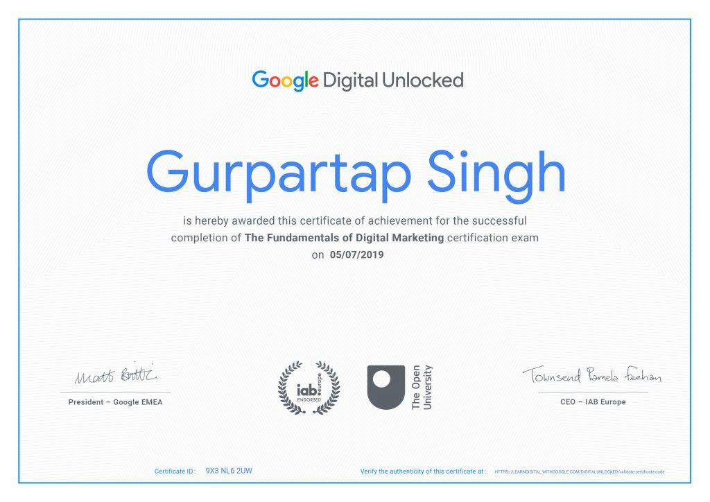 google marketing certificate
