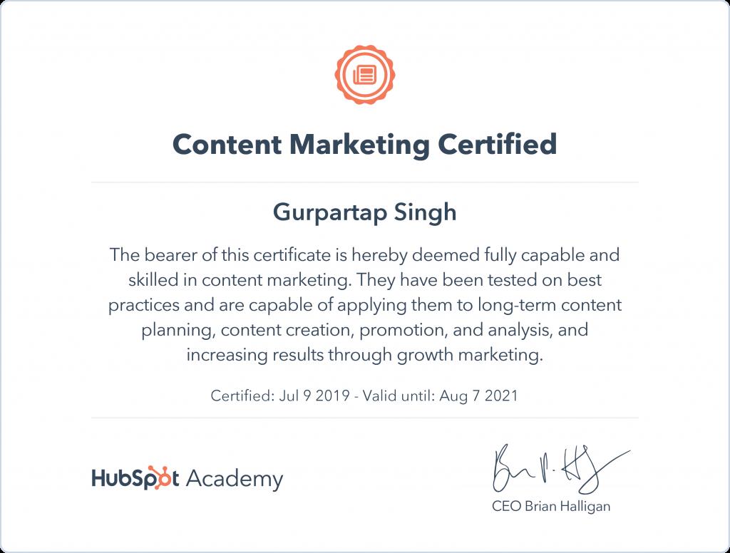 Content Marketing certificate
